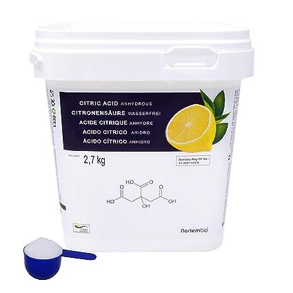 NortemBio Ácido Cítrico 2,7 kg, Alimentaria Producto CE.