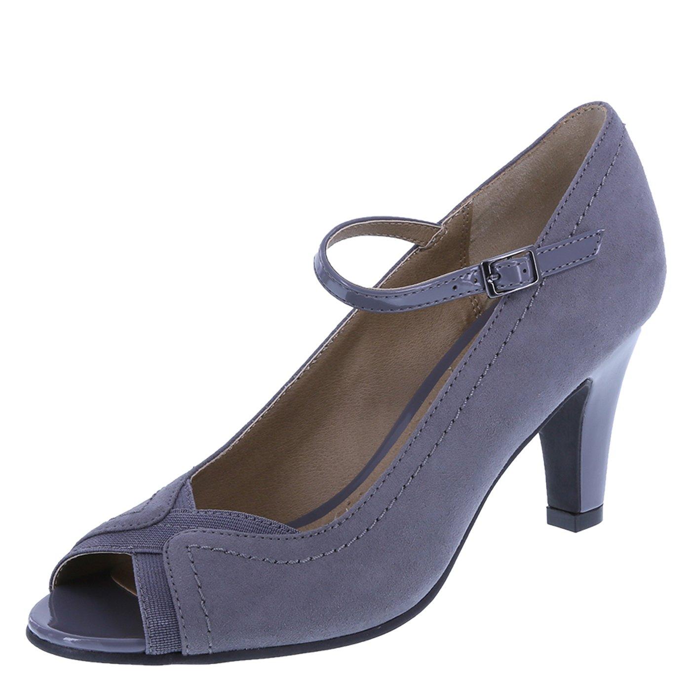 dexflex Comfort Grey Suede Women's Malinda Peep Toe Pump 8.5 Regular