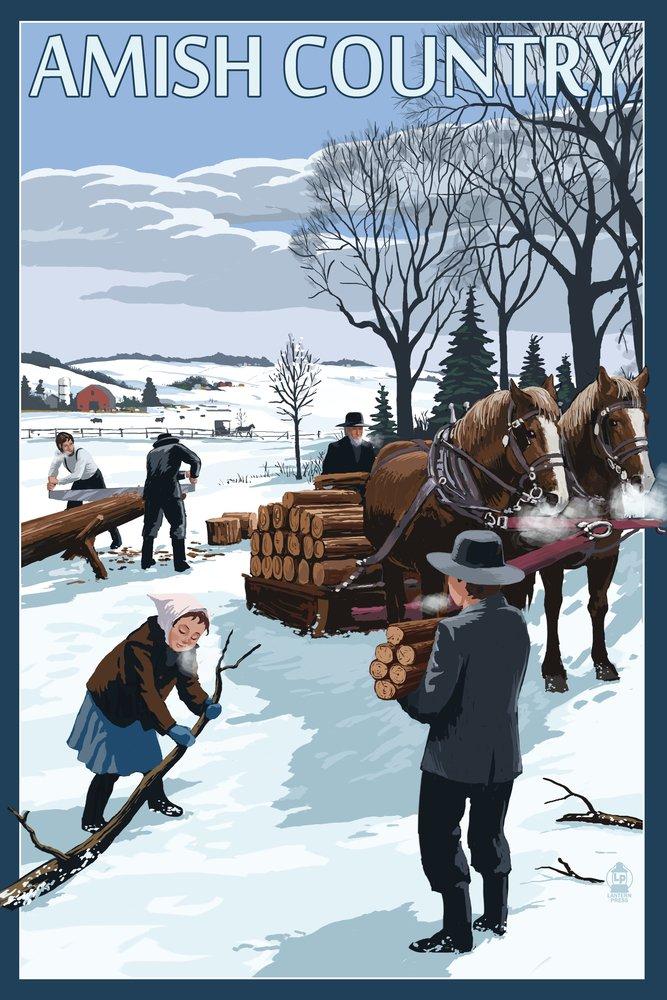 Amish国 – Gathering薪冬シーン 36 x 54 Giclee Print LANT-52542-36x54 36 x 54 Giclee Print  B017E9Y0HS