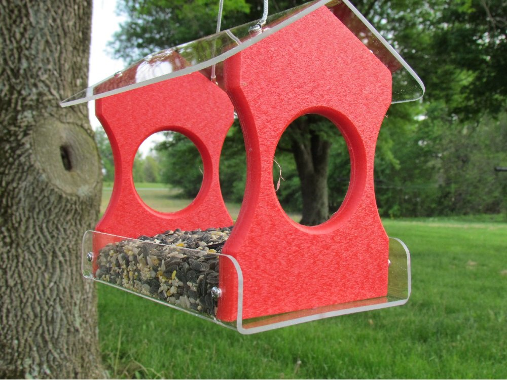 JC's Wildlife Nature Products USA Recycled Poly Lumber Hanging Birdfeeder (Red)