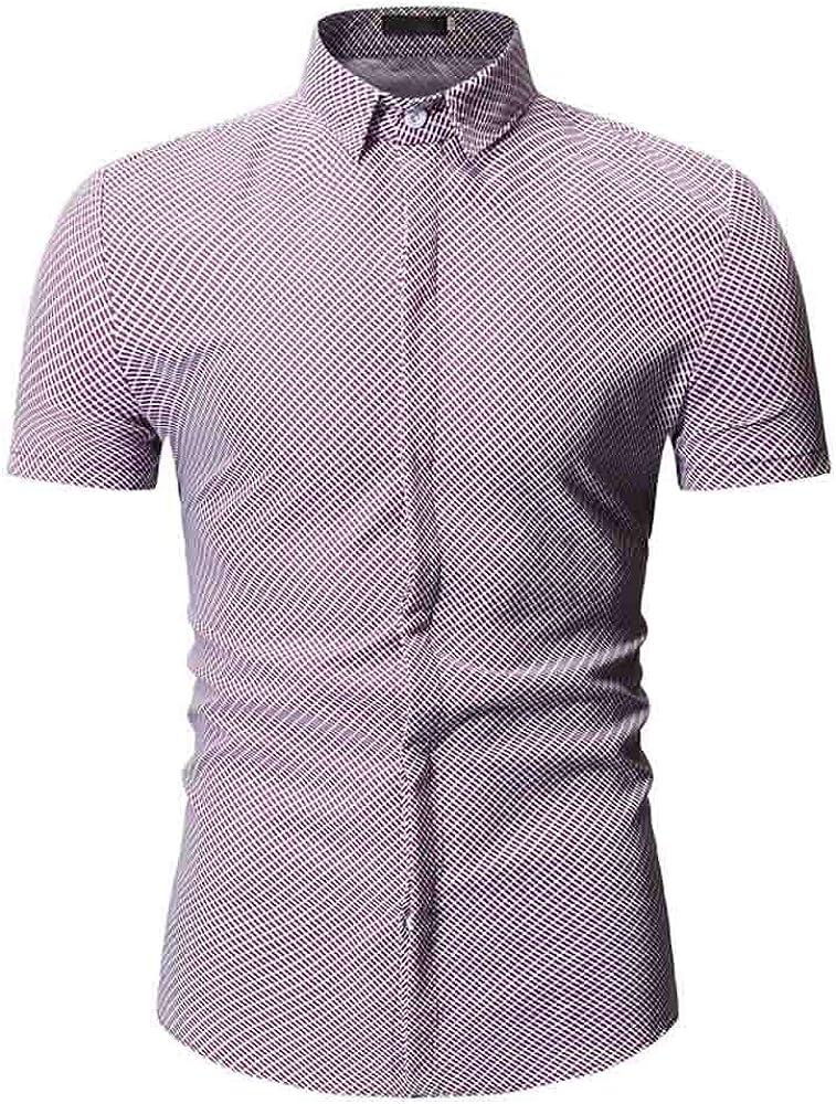 SoonerQuicker Camisa de Hombre Camiseta de Verano con Cuello caído Camiseta Ajustada de Manga Corta Top BlusaT Shirt tee(Rojo M): Amazon.es: Ropa y accesorios