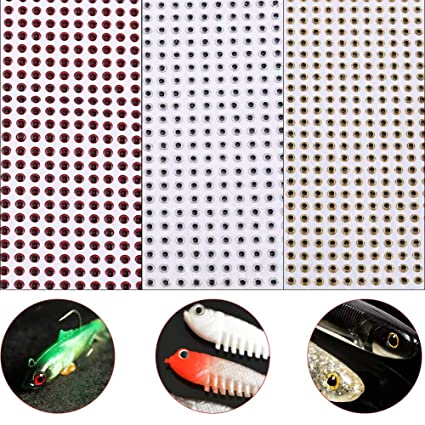 500x 4mm Fishing Eyes 3D Holographic Eye Artificial Bait Lifelike Epoxy Gold
