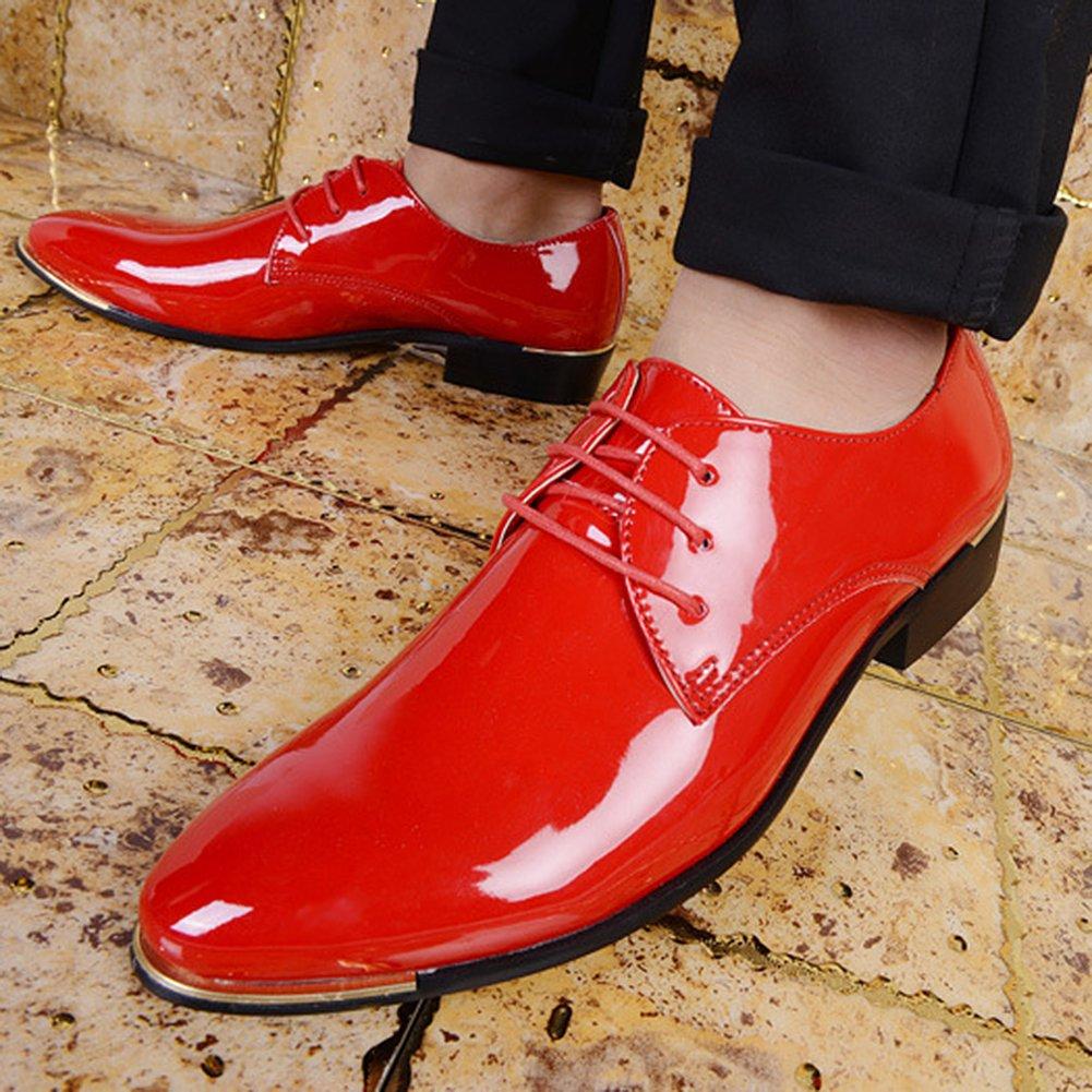 197d7e779f56d8 ... wealsex Derby Cuir Vernis Chaussure de Ville à Lacets Homme Bout Pointu  Chaussure Affaire Bureau Costume ...
