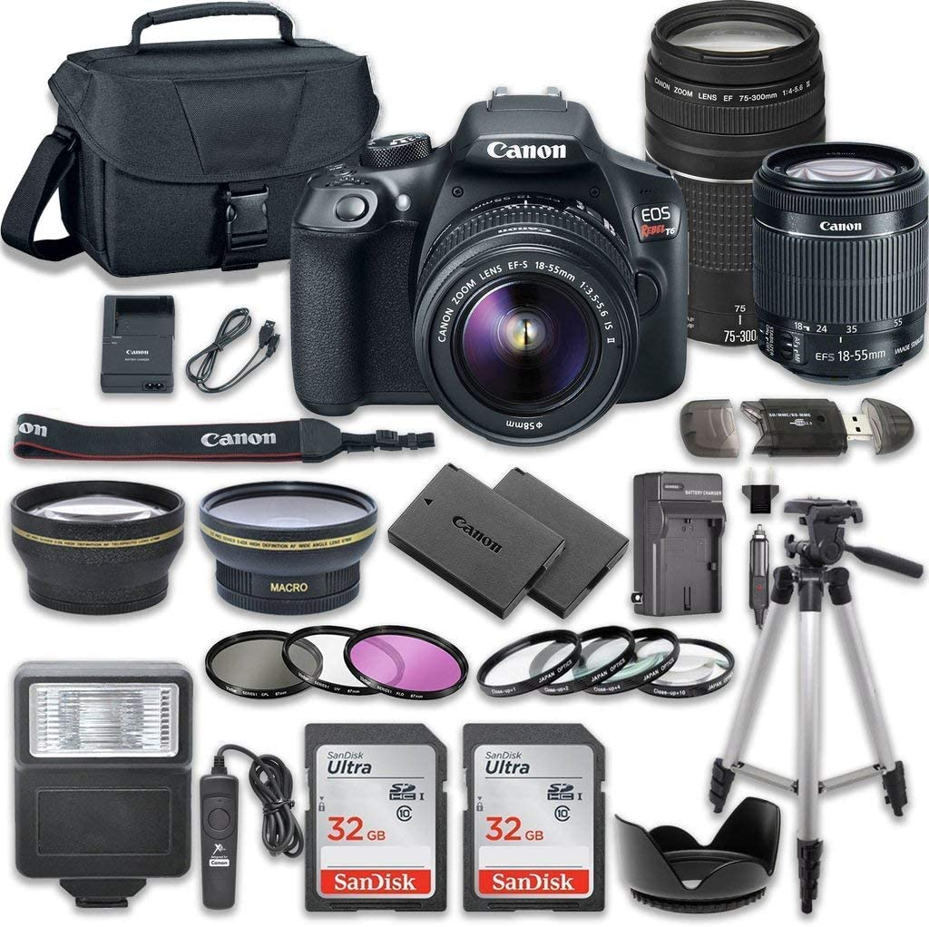 Canon EOS Rebel T6 DSLR Camera Bundle with Canon EF-S 18-55mm f/3.5-5.6 IS II Lens + Canon EF 75-300mm f/4-5.6...