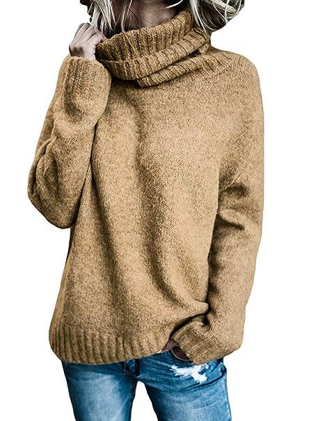 BOLAWOO Sudaderas Mujer Otoño Invierno Elegante Pullover Irregular Cuello Alto Mode De Marca Manga Largo Anchos Casual Color Sólido Jerseys Sweater Cómodo ...