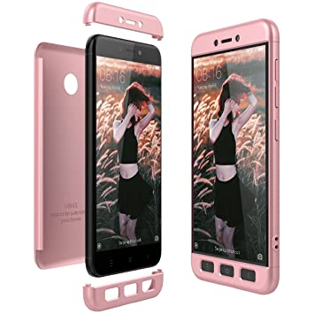 CE-Link Funda Xiaomi Redmi 4X Carcasa Fundas para Xiaomi Redmi 4X 360 3 en 1 Desmontable Ultra-Delgado Anti-Arañazos Case Protectora - Oro Rosa