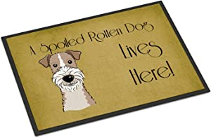 Caroline's Treasures BB1495JMAT Wire Haired Fox Terrier Spoiled Dog Lives Here Indoor or Outdoor Mat 24x36, 24H X 36W, Multicolor