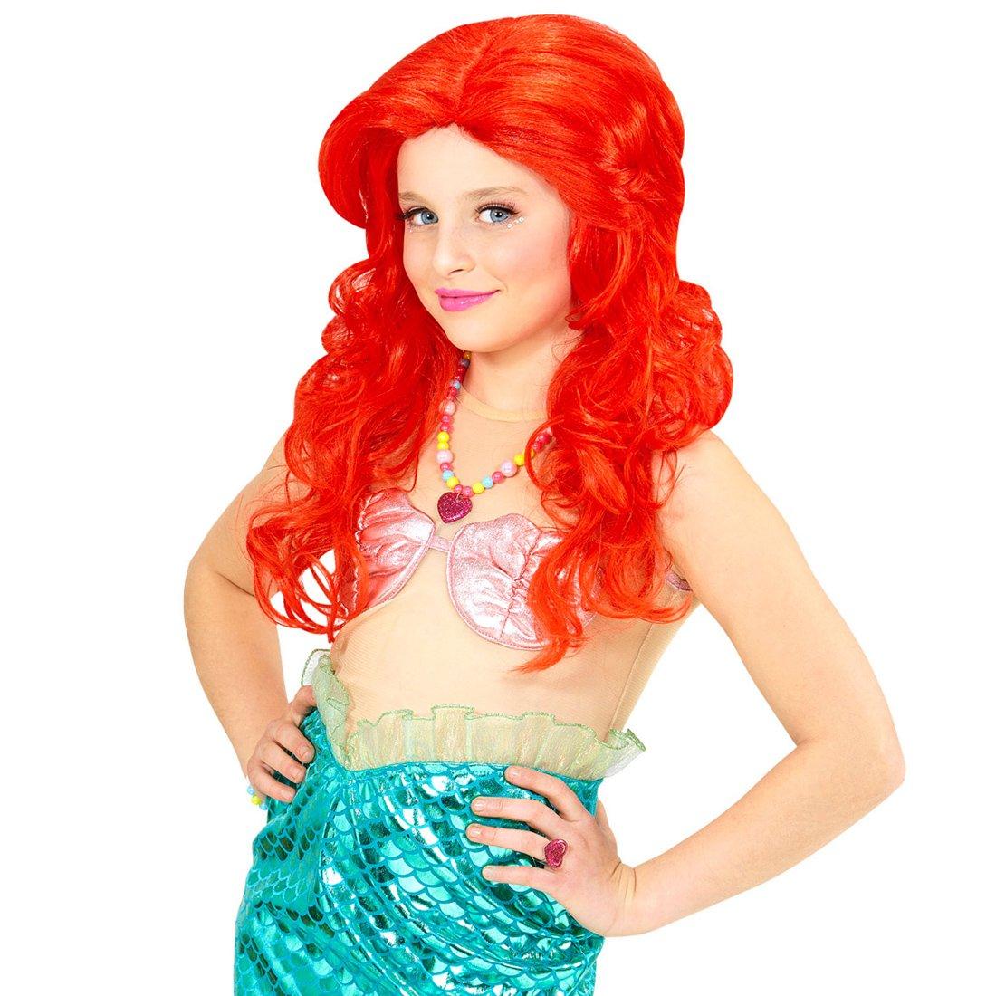 Amakando Peluca Larga Sirena | Peluca Infantil Peliroja | Cabello de Princesa | Pelo Rojo Carnaval: Amazon.es: Juguetes y juegos