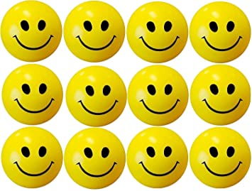 ToysStock Smiley Face Squeeze Balls for Stress Relief and Playing (Yellow) Pack of 10