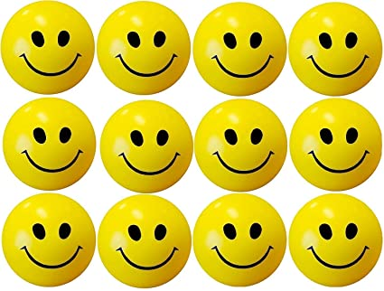 ToyStack Smiley Face Sponge Ball Release Pressure Yellow for Kids Men Women Adult Pack of 5