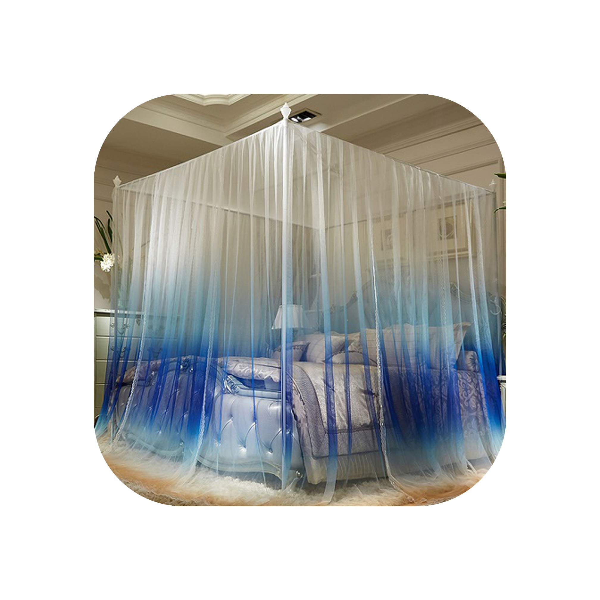 Gradient Green Blue Gray Orange Luxury Square Three Open Door Lace Mosquito Net 32mm Stainless Steel Mosquito Frame Bedding Set,3,200X220cm