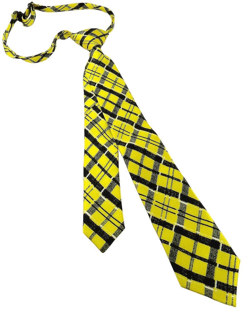 Schmale leichte vorgebundene Kinderkrawatte in gelb schwarz weiss kariert