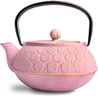 IAXSEE Cast Iron Teapot, Pink Tea Pots with Infusers for Loose Tea, Elegant Design Japanese Teapot Coated with Enameled…