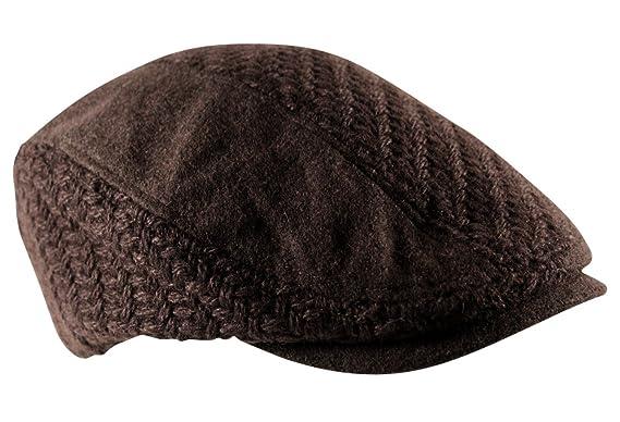 c44fb543 Itzu Mens Waffle Knit Woven Flat Cap Hat Texture Newsboy Gatsby Baker Boy  Wool Mix in