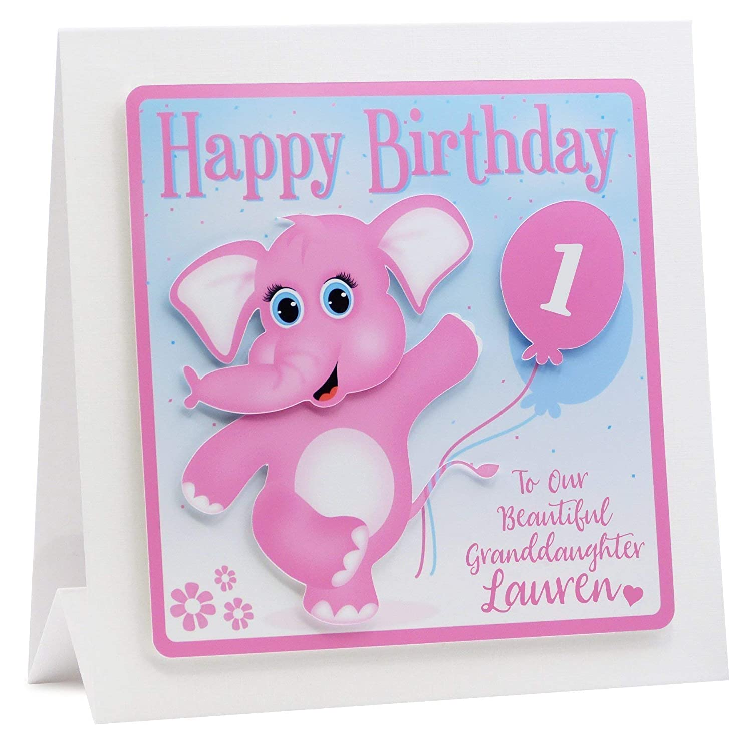 Personalised Birthday Card First 1st 2nd Daughter Granddaughter Niece Elephant