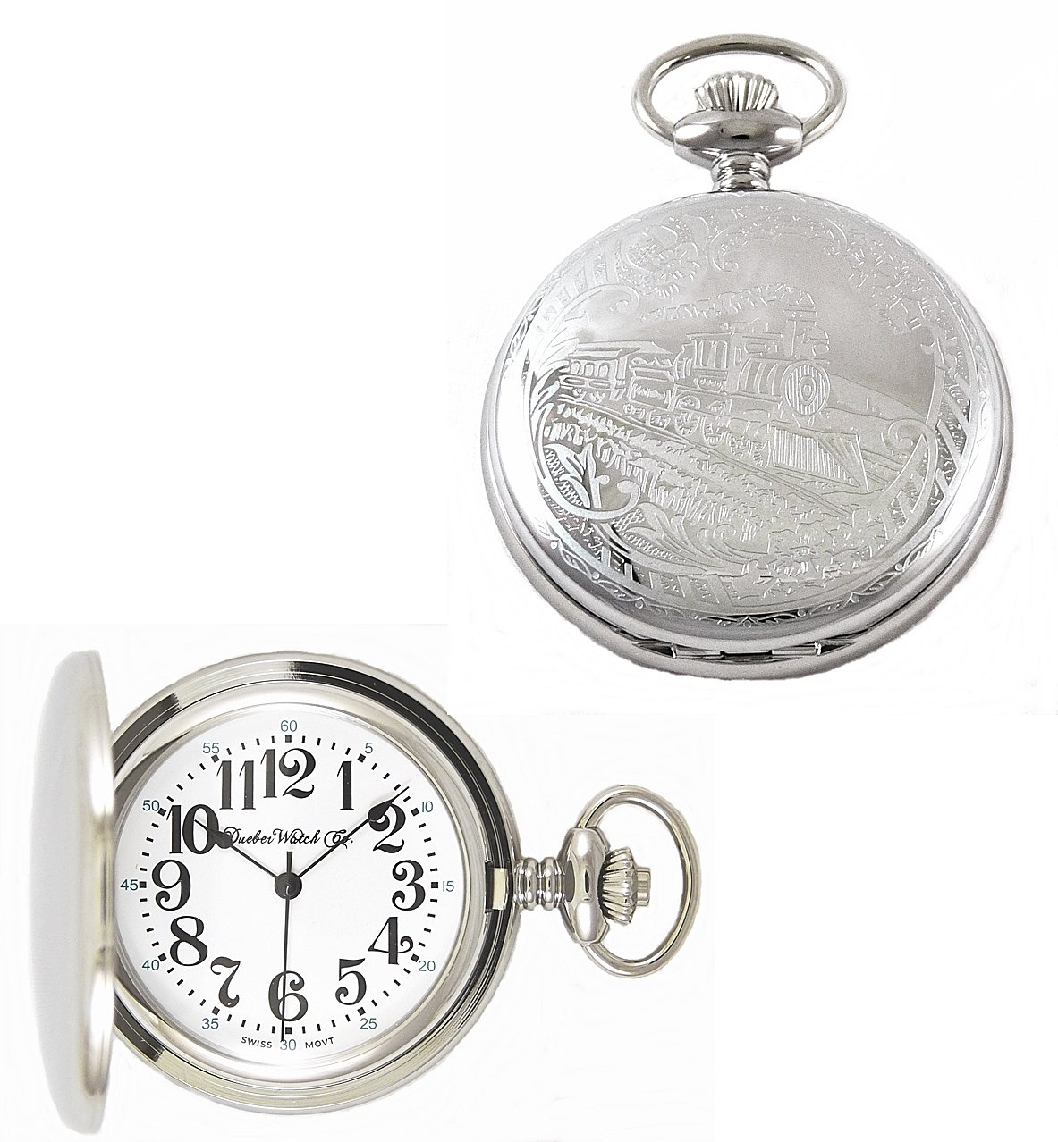 Dueber Watch Co Swiss Steel Hunting Case Pocket Watch with Locomotive Railroad Design