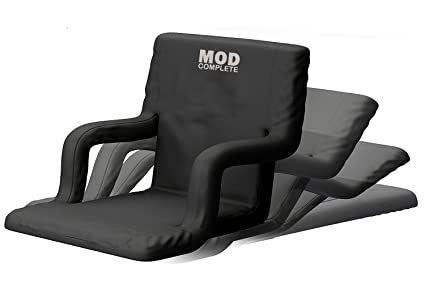 MOD Complete Wide Stadium Seat Chair for Bleachers or Benches - Enjoy Padded Cushion Backs and Armrest Support - 6 Reclining Custom Fit Sport ...