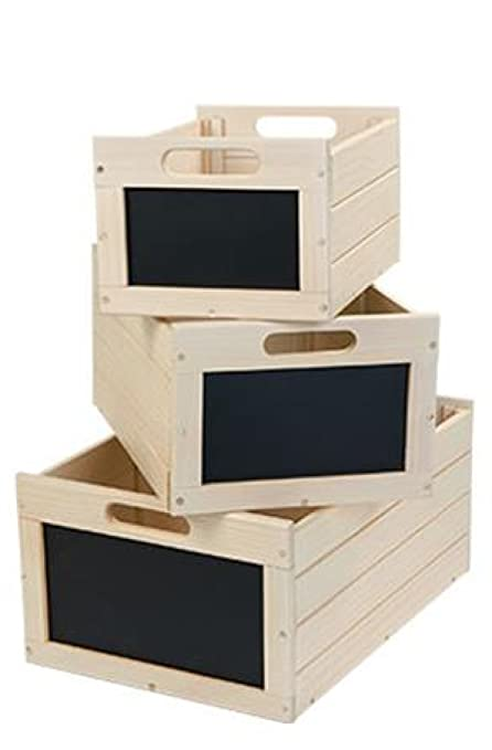 Wood Bin Crates Storage Toy Cubby Chalkboard Front Craft Nesting Box  Antique White Erasable Front Sign