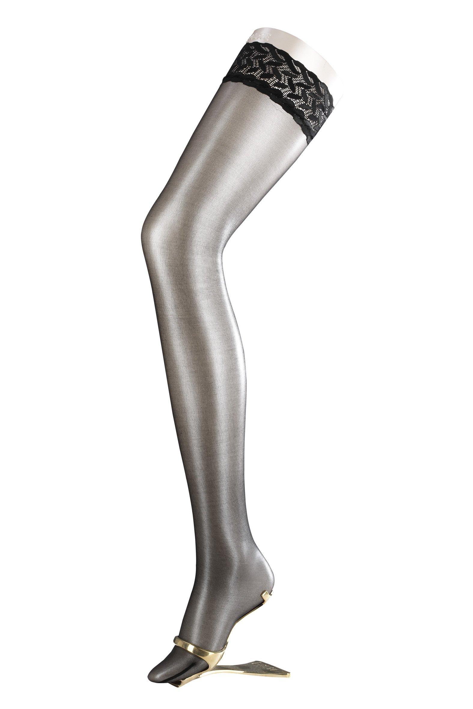 Falke Shelina 12 Denier Shimmer Stay-Up Thigh Highs, Medium, Black