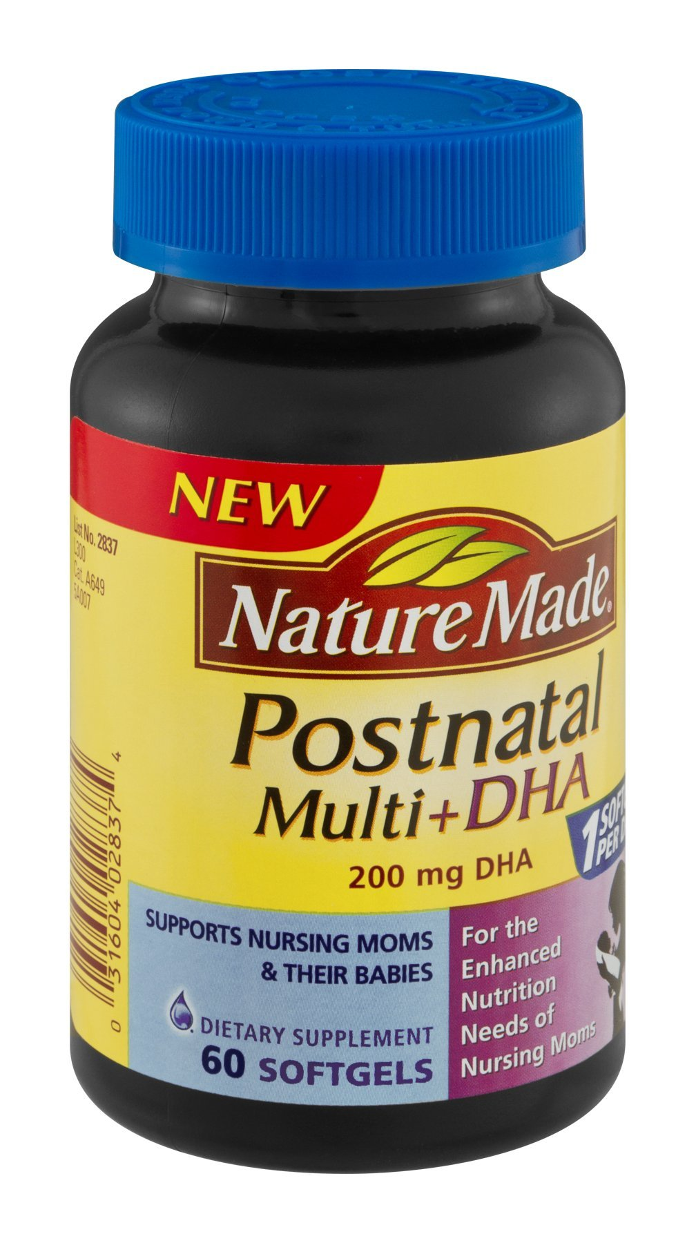 Nature Made Postnatal Multi+DHA 200mg Dietary Supplement Softgels , 60 CT (Pack of 3)