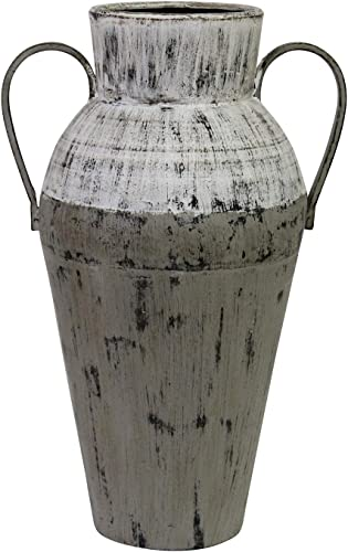 Stratton Home D cor Stratton Home Decor Two Tone Distressed Vase, White, Grey