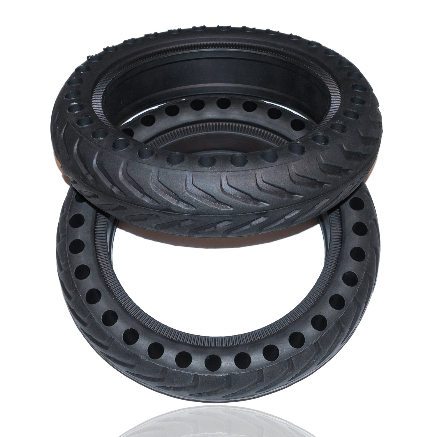 Rollsafe Drilled Solid Tubeless Replacement Tires for Xiaomi Mi Electric Scooter M365 Mijia (Set of 2)