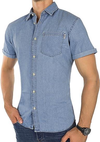JACK & JONES - Camisa casual - con botones - Liso - Manga Corta - para hombre Hellblau (Light Blue Denim Fit:slim) M: Amazon.es: Ropa y accesorios