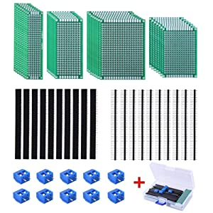 AUSTOR 30 Pcs Double Sided PCB Board Kit 4 Sizes Circuit Board with 20 Pcs 40 Pin 2.54mm Header Connector for DIY(Bonus: 10 Pcs Screw Terminal Blocks)