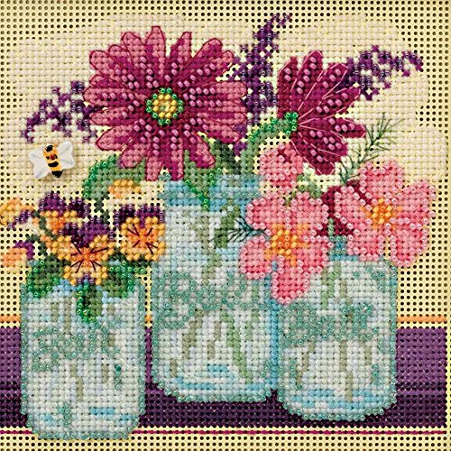 Cut Flowers Beaded Counted Cross Stitch Kit Mill Hill 2016 B