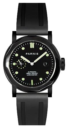 PARNIS Evolution Modelo 2137 de acero inoxidable reloj de hombre automático con cristal de zafiro Caucho Pulsera Seagull ST25 10BAR impermeable: WATCHNER: ...