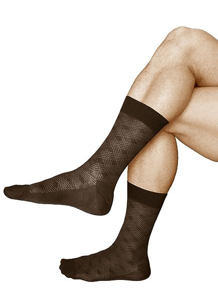vitsocks 3 Pares Calcetines Elegantes Hombre, ALGODÓN MERCERIZADO ITALIANO, Clásico, 44-46, marrón: Amazon.es: Ropa y accesorios