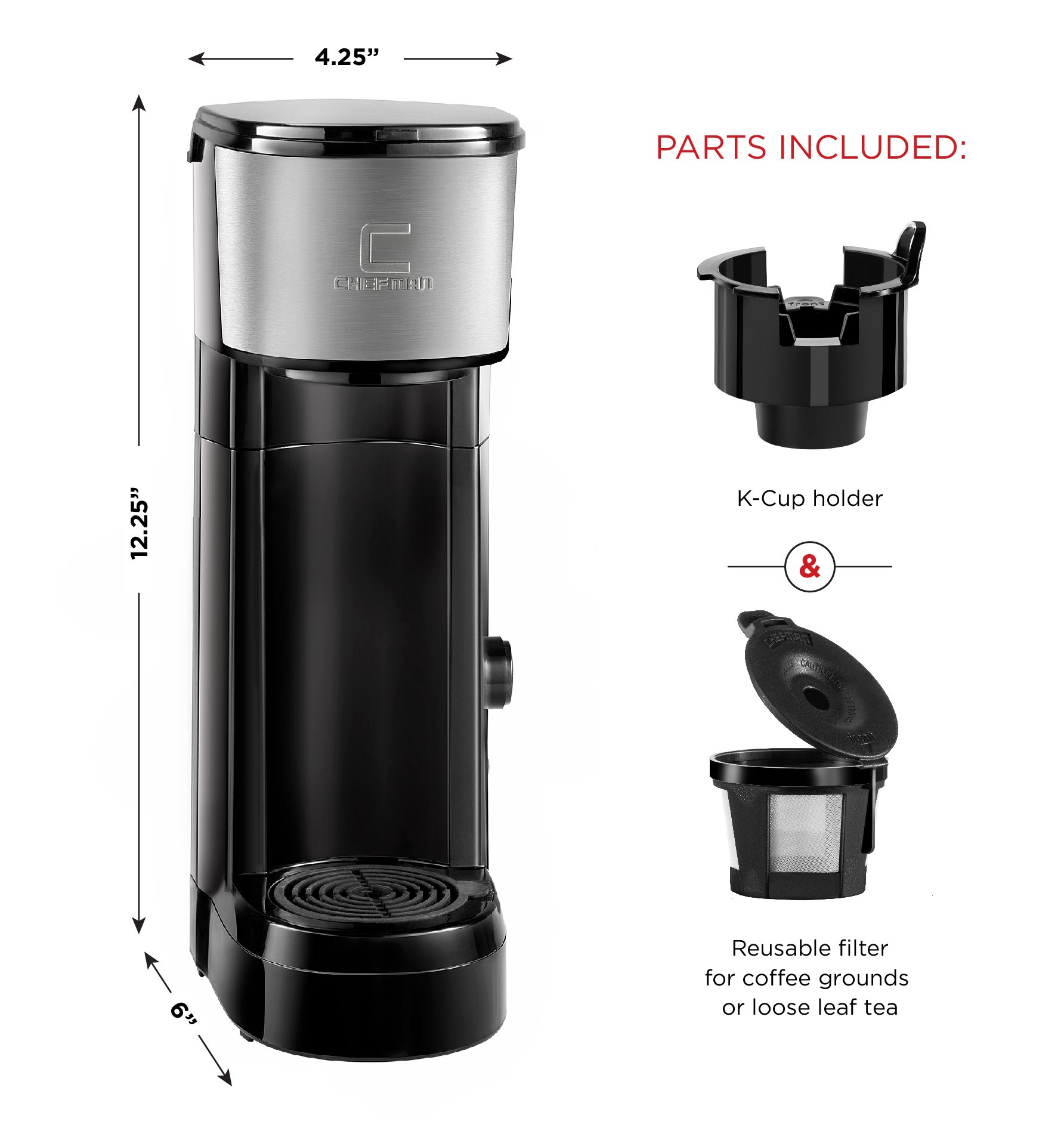 Chefman Coffee Maker K-Cup InstaBrew Brewer - Free Filter Included For Use With Coffee Grounds - Instant Reboil - Single Serve-Mug NOT Included by Chefman (Image #2)