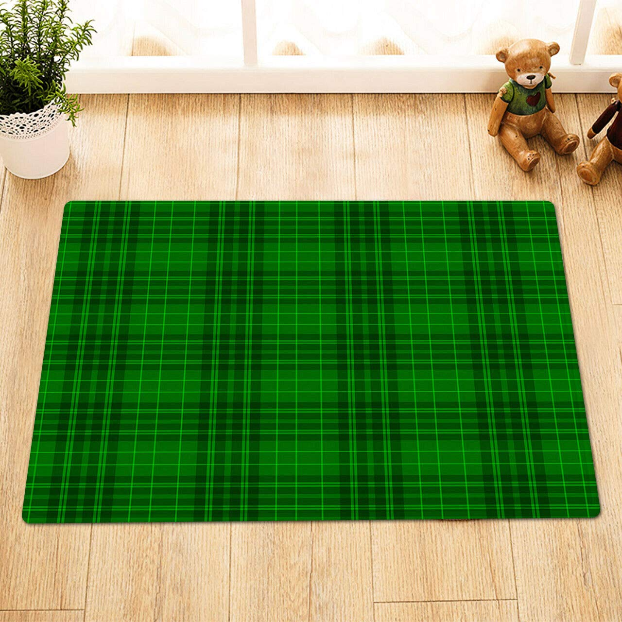 60 x 40 cm hdrjdrt Color Verde Felpudo de Ducha dise/ño de Cuadros