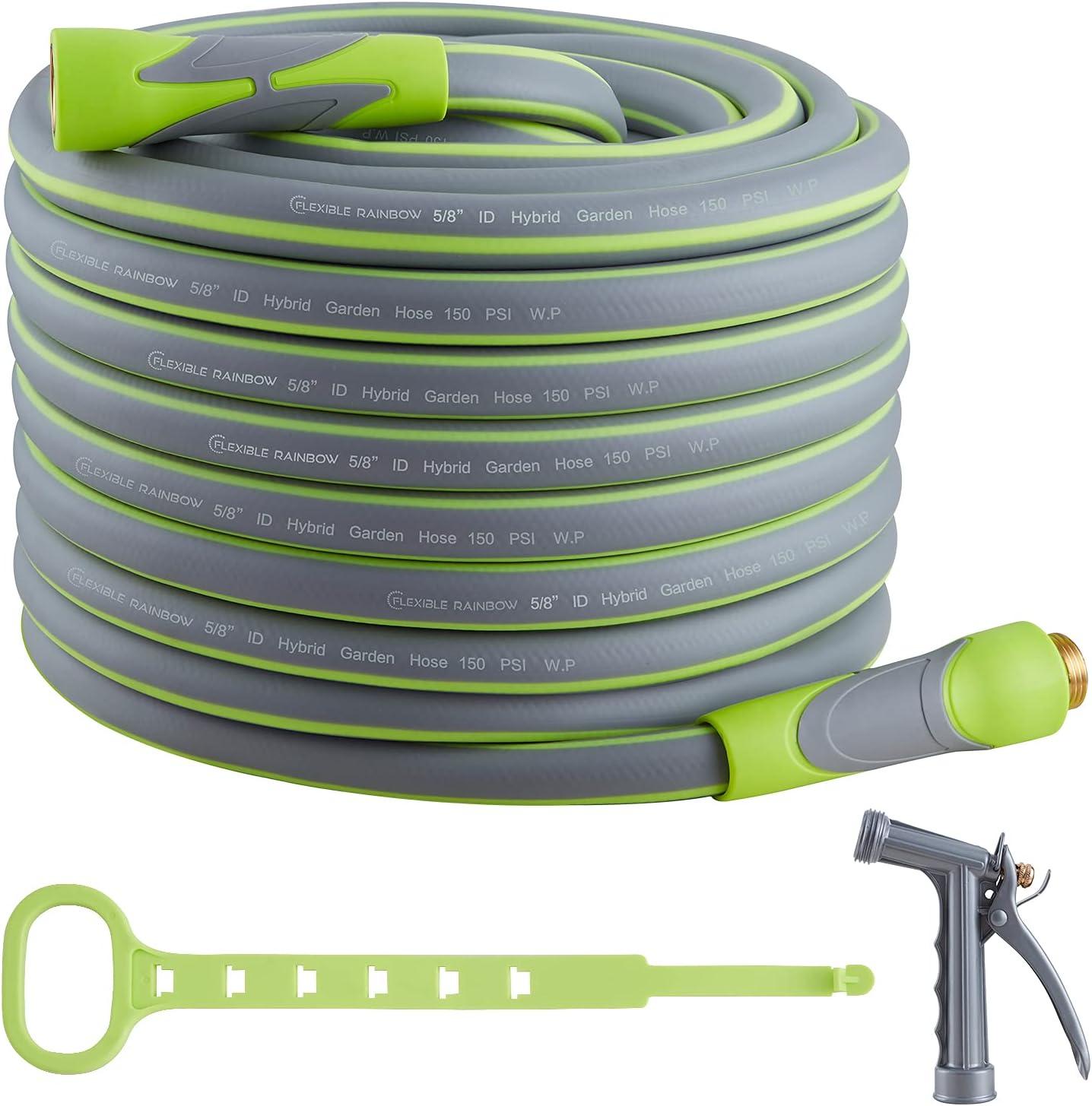 Garden Hose, Hybrid 5/8 in, Heavy Duty, Light Weight and Flexible Water Hose (Green, 100' (feet))