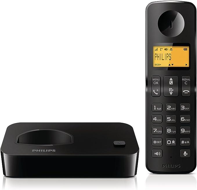 Philips D2001B/FR - Teléfono (Teléfono DECT, Altavoz, 50 entradas, Identificador de Llamadas, Negro): Amazon.es: Electrónica