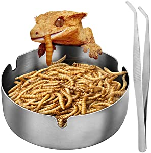 SAWMONG Reptile Food Bowl, Stainless Steel Lizard Gecko Food Water Dish, Pet Mealworm Water Bowl for Lizard, Beard Dragon, Chameleon, Hermit Crab Rock, Reptile, Anoles