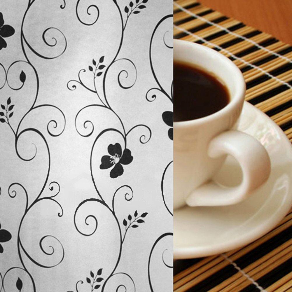 Adesivo decorativo filtro in vetro smerigliato nero e bianco floreale finestra pellicole schermo doccia 45 x 100 cm WEIJUN