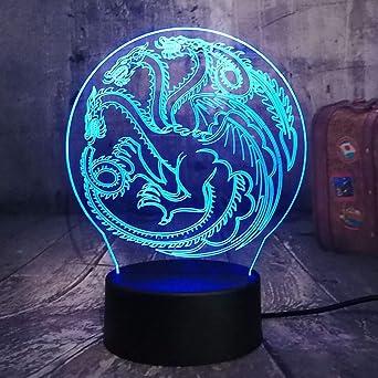 Juego de tronos lámpara una canción de hielo y fuego Casa Targaryen 3D RGB LED luz de la noche USB Lampara de mesa decoracion del hogar de regalo de Navidad: Amazon.es: Iluminación