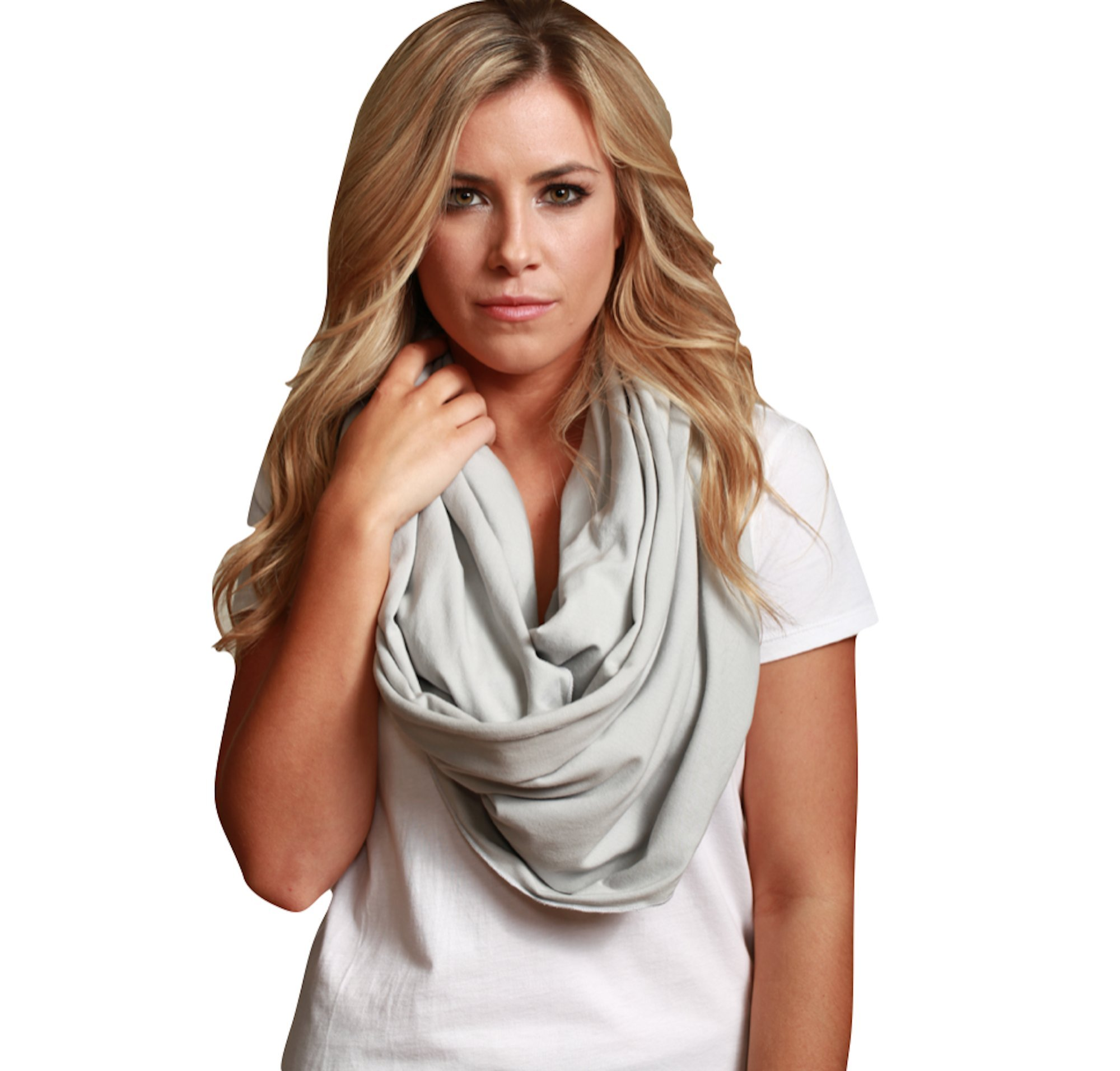 Sleeper Scarf 2-in-1 Travel Scarf and Inflatable Neck Pillow (Grey, Traditional Inflate) by Sleeper Scarf