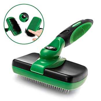 K9KONNECTION Self Cleaning Slicker Brush Dogs Cats - Professional Pet Grooming Tool Removes Dead Undercoat, Knots & Matted Fur - Safe Bristles - Dog Cat Dematting Brushes & Combs Pets