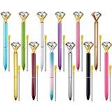 Zealor 12 Pieces Diamond Pens and 12 Extra Pen Refills, Big Diamond Crystal  Metal Ballpoint