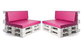 SUENOSZZZ - Conjunto colchonetas para Sofas de Palet y respaldos (2 x Unidades) Cojin Relleno con Espuma. Color Fucsia | Cojines para Chill out, ...