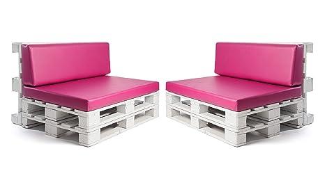 Conjunto colchonetas para sofas de palet y respaldos (2 x Unidades) Cojin relleno con espuma. Color Fucsia | Cojines para chill out, interior y ...