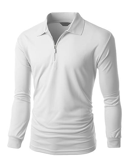 510f1d29 Men's Casual Sporty Design Coolon Zipper Polo Collar T-shirt WHITE size XS