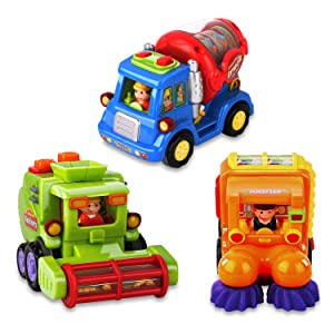 AOKESI Toddler Car Toys 3 Pack Friction Powered Cars Push and Go Cars Construction Vehicles Toy Set Street Sweeper Cement Mixer Harvester Truck Toys for 1 2 3 Years Old Baby Boy & Girl Gift