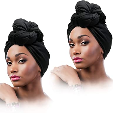 2 Pieces Stretch Head Wrap Scarf Stretchy Turban Long Hair Scarf Wrap Solid Color Soft Head Band Tie For Women Black At Amazon Women S Clothing Store