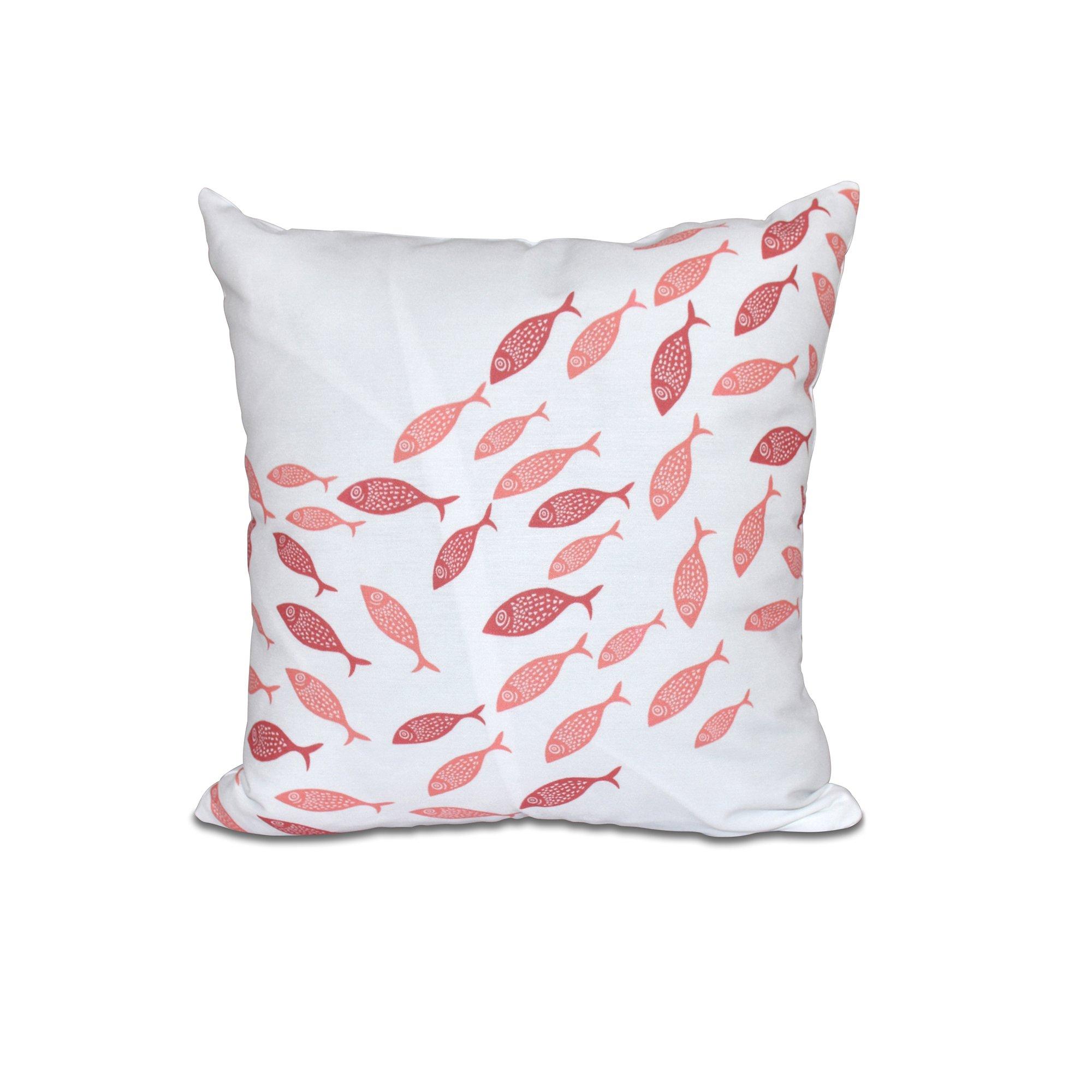 E by design 20 x 20 Escuela Animal Print Coral Pillow