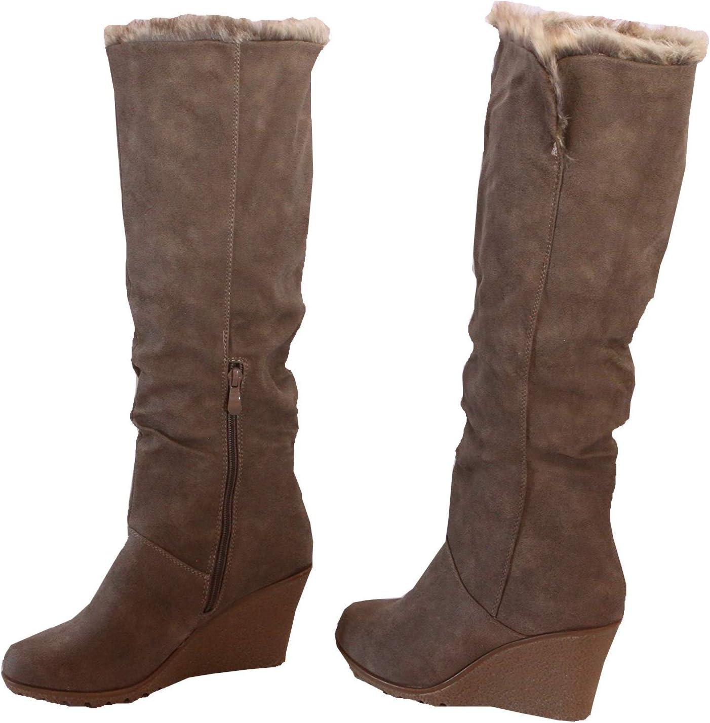 Women Winter-Boots Wedge Knee-High