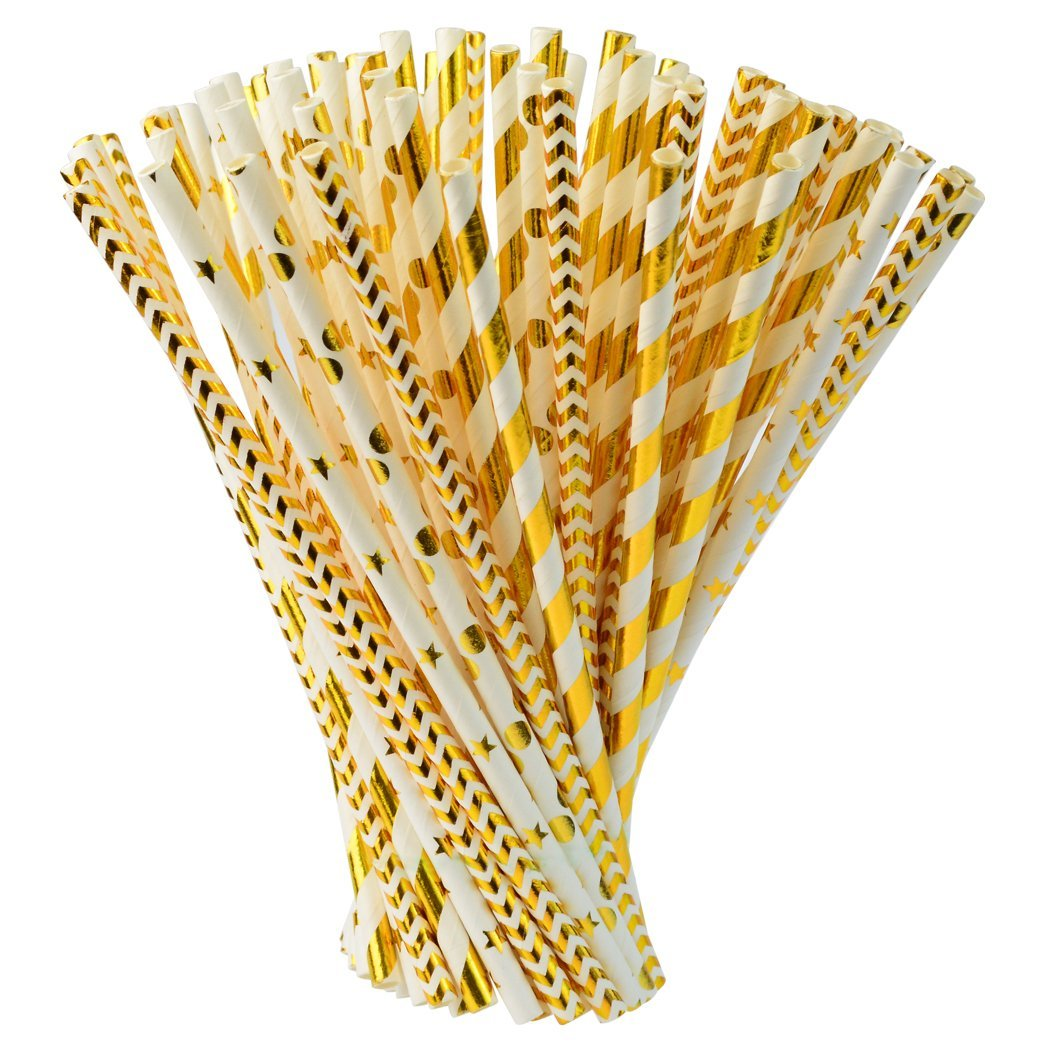 200 pcs Biodegradable Paper Straw with 8 Sheets Stickers, Drinking Straws for Birthdays, Weddings, Baby Showers, Celebrations and Parties, Gold, White