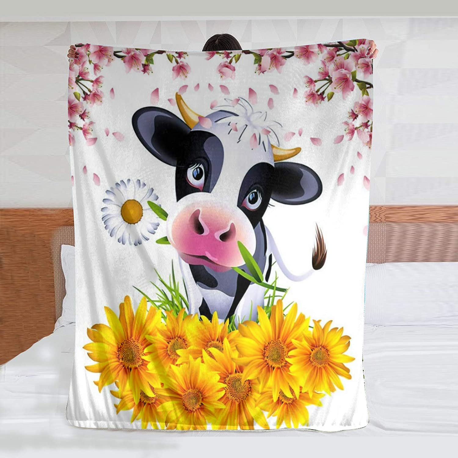 JASMODER Cartoon Cow Holding Flowers Throw Blanket Warm Ultra-Soft Micro Fleece Blanket for Bed Couch Living Room